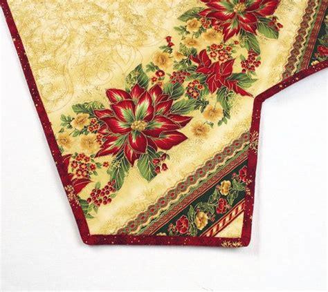 large christmas tree skirt quilt poinsettias soft gold