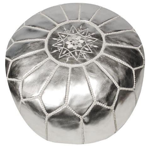 silver pouf ottoman moroccan pouf silver leather rosenberryrooms com
