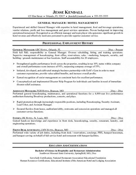 house manager resume sle resume ideas