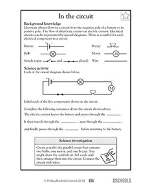 5th grade Science Worksheets: Parts of an electrical