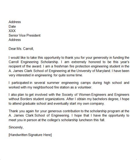 Scholarship Thank You Letter Byu scholarship thank you letters sle template business