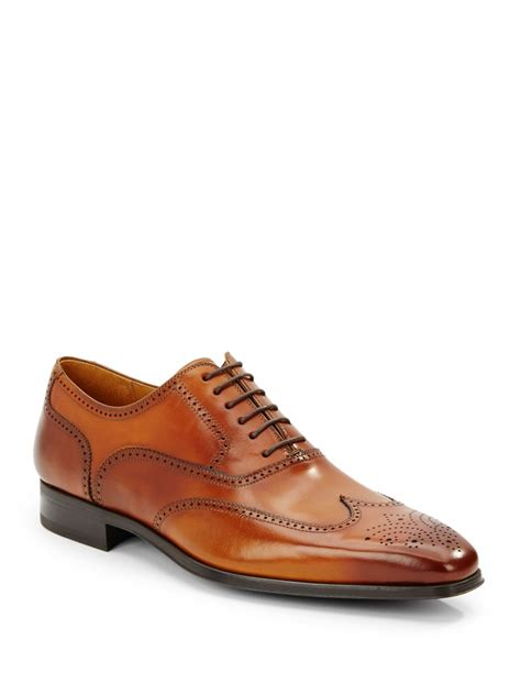 magnanni burnished calfskin leather wingtip shoes in