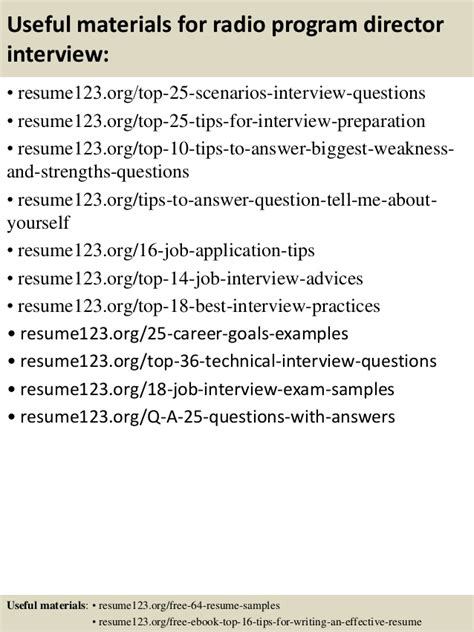 Program Director Resume by Top 8 Radio Program Director Resume Sles