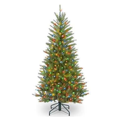 dunhill christmas tress home depot fir christimas trees national tree company 4 5 ft dunhill fir slim tree with multicolor lights duslh1 45rlo the