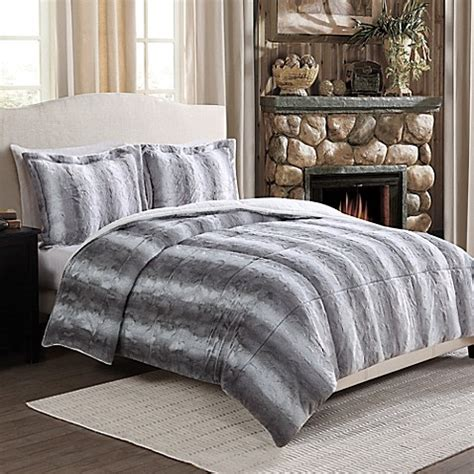fur bedding sets chinchilla fashion fur reversible comforter set in grey