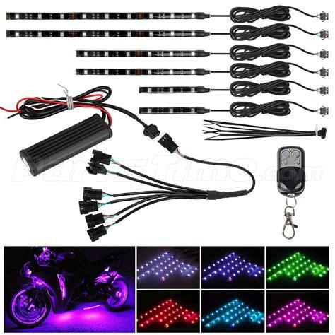 led light strips motorcycle 6pc wireless remote led neon glow light strips kit