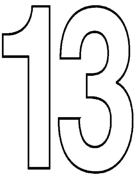 Number 13 Coloring Page free coloring pages of number 13