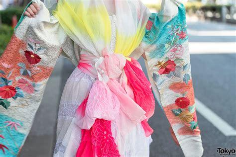 colorful kimono harajuku shironuri w colorful kimono sleeve dress geta