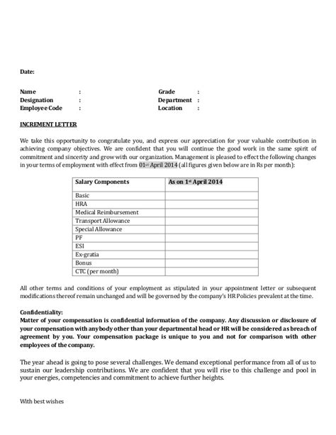 Appraisal Letter Without Increment Increment Letter Format