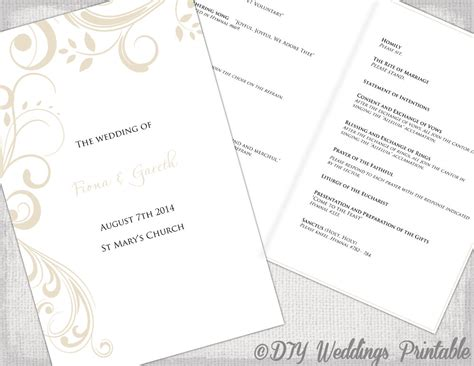 catholic wedding program template catholic wedding program template by diyweddingsprintable
