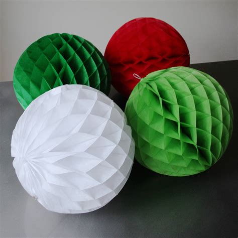 Paper Balls - four large paper tissue balls 30cm by pearl and
