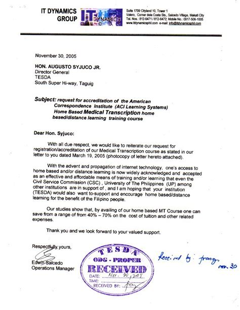Letter Of Intent For Ojt Application Letter In Tagalog Sle 100 Original