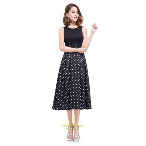 Midi Dress Polkadot Simple vintage black and white polka dot sleeveless fit and flare midi dress val dresses