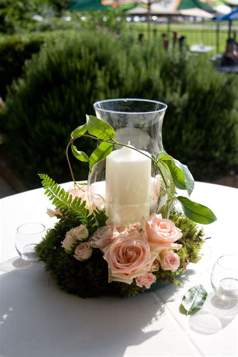 reception decor hurricane globe  pillar candle