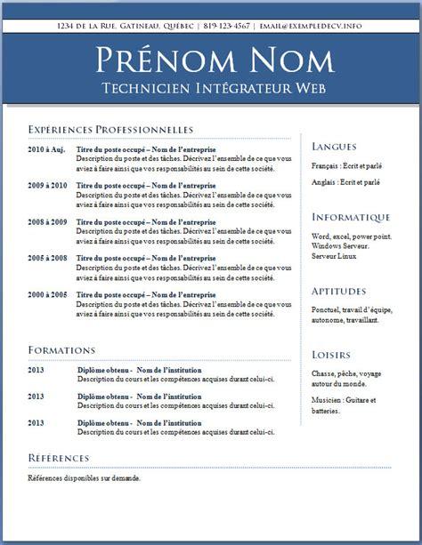 Word Modèle Cv by Resume Format Modele Cv Kine Gratuit