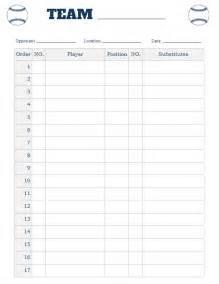 Batting Order Template by Printable Baseball Lineup Card Free