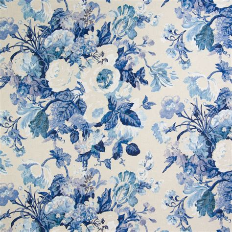 Blue Floral Upholstery Fabric by Kovi Fabrics Cobalt Blue Floral Print Cotton Made In Usa