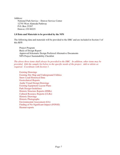 National Park Service Report Template Design Build Db Request For Rfp Template With
