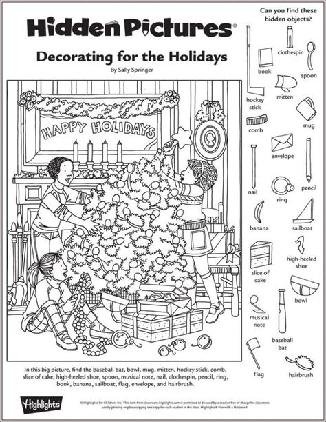 hidden pictures printable esl decorating for the holidays hidden pictures puzzle