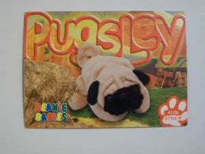 pugsley the pug beanie baby ty beanie baby card 120 pugsley the pug style 4106