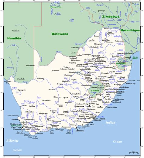 map of with cities map of south africa overview map cities and towns