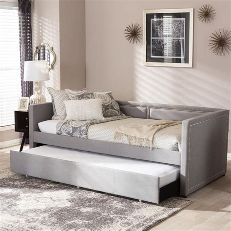 contemporary daybed baxton raymond contemporary gray fabric upholstered twin