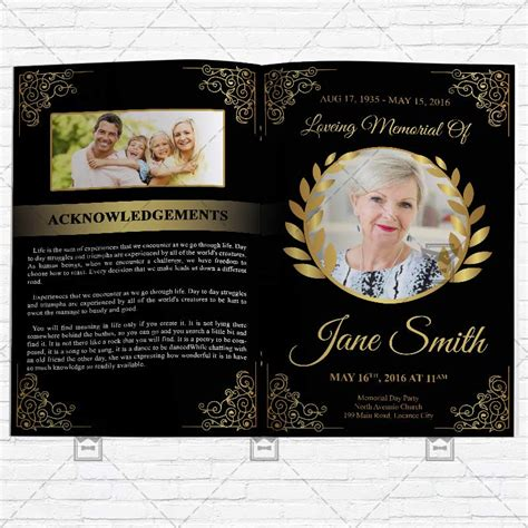 Funeral Program Vol3 Premium Bi Fold Brochure Template Exclsiveflyer Free And Premium Psd Free Funeral Flyer Template Psd