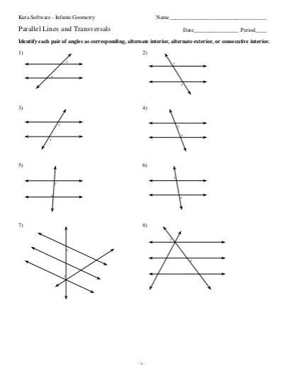 Parallel Lines Cut By A Transversal Worksheet Pdf by 3 Parallel Lines And Transversals Kuta Software