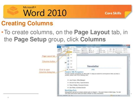 microsoft word page layout side by side word lesson 5c columns header footers page no