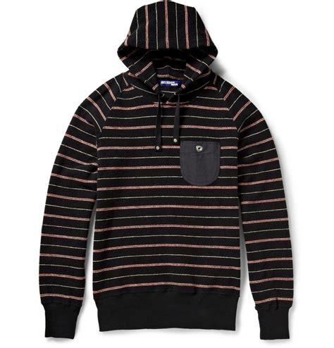 Striped Hoodie junya watanabe striped cotton hoodie in black for lyst