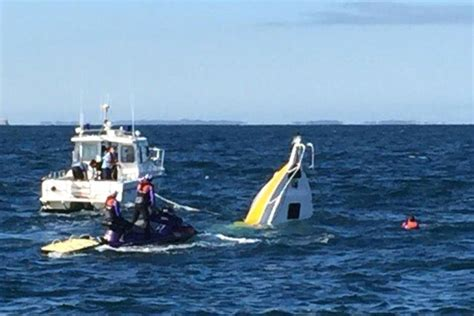 catamaran boat sinks boat sinks swimmers rescued at annual rottnest swim event