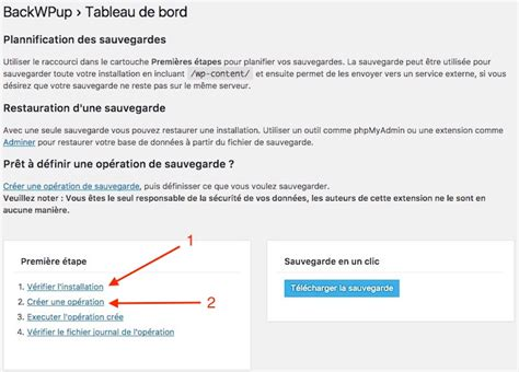 sauvegarder wordpress avec backwpup backwpup sauvegardes wordpress base de donn 233 es export