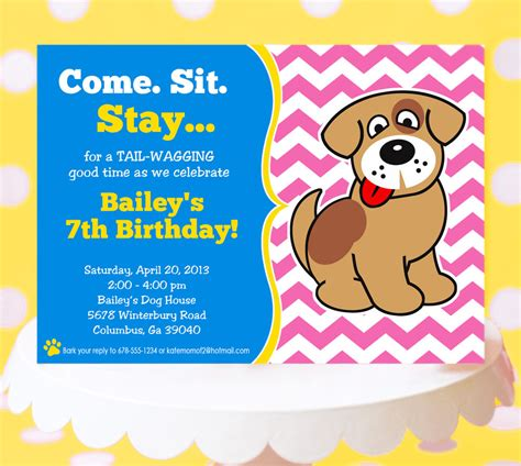 birthday card template dogs invitations theruntime