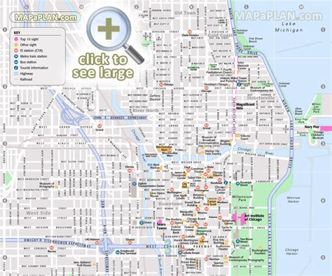 chicago map for tourists chicago top attractions map