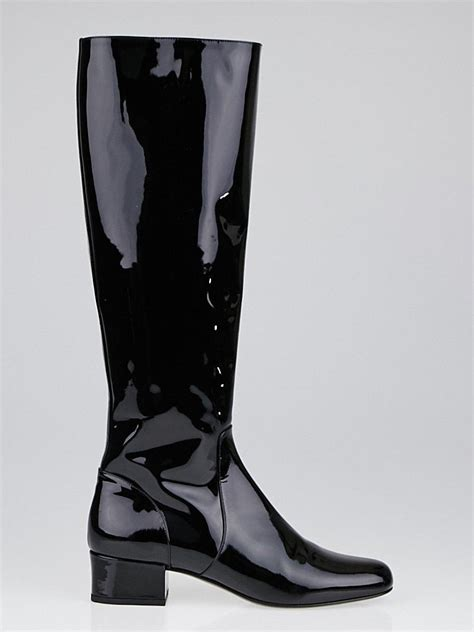 yves laurent black patent leather babies 40 knee