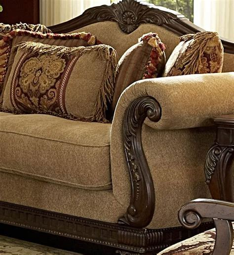 traditional sofas with wood trim traditional living room fabric and wood trim curved sofa