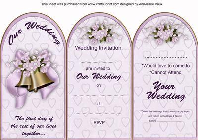 wedding invitation cards editor lilac wedding bells wedding invitation rsvp tri fold
