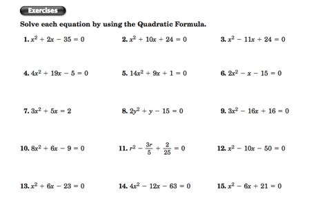 Quadratic Equations Worksheet by Worksheets The Quadratic Formula Worksheet Opossumsoft