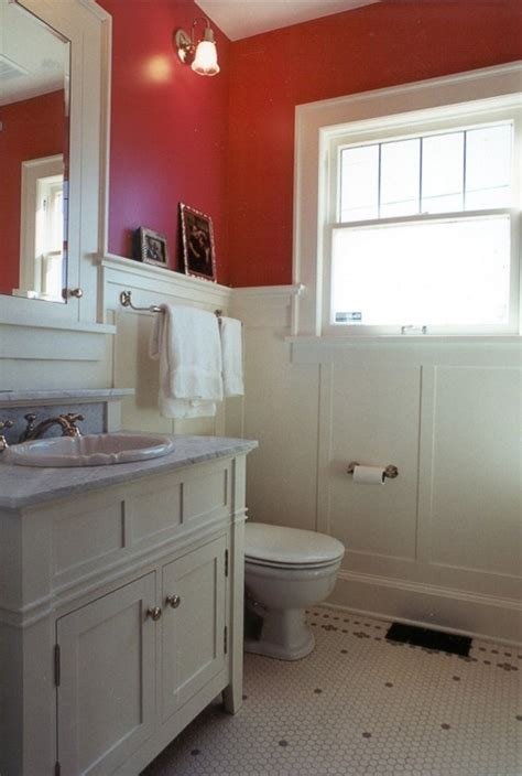 painting bathroom paneling love the red but i have had a bad experience with