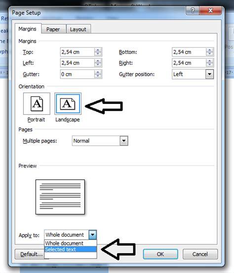 cara membuat salah satu halaman di word menjadi landscape cara membuat orientasi landscape halaman tertentu