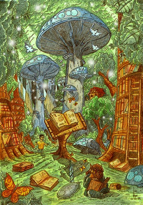 The Lost Library the lost library forest painting by luis peres