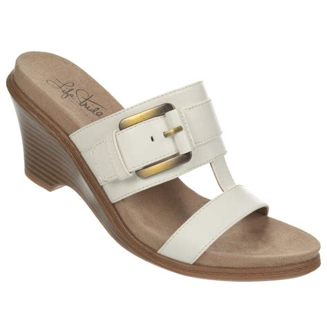 lifestride wedge sandals lifestride s peaceful white wedge sandal