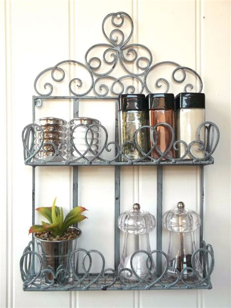Metal Wall Spice Rack Vintage Style Metal Wall Shelf Unit Storage Unit Kitchen