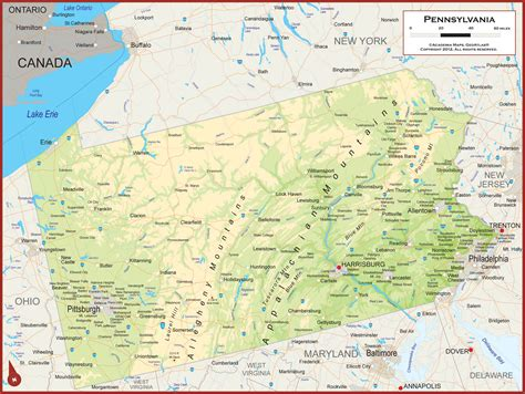 pennsylvania physical map pennsylvania physical state map