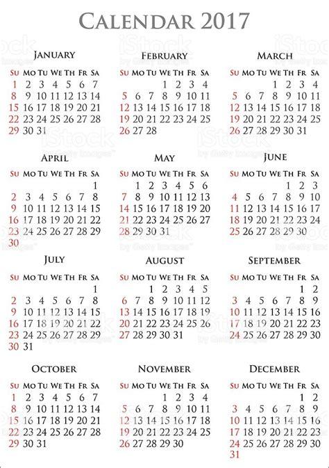 Year Calendar 2017 Calendar For Year 2017 Stock Vector 540983458 Istock