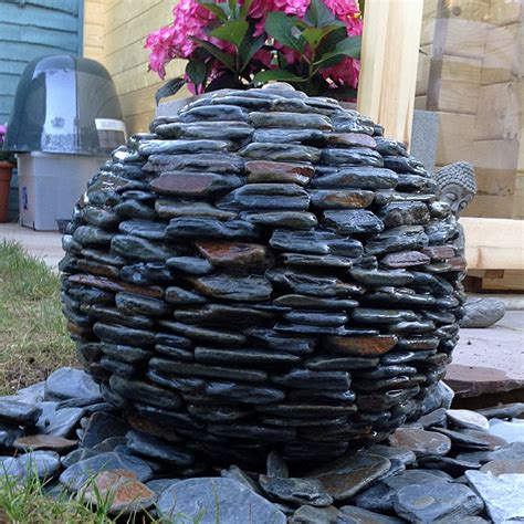 slate ball water feature handmade in cornwall