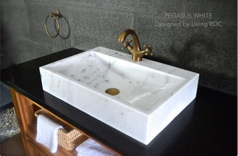 24 quot white marble bathroom vessel sink faucet hole