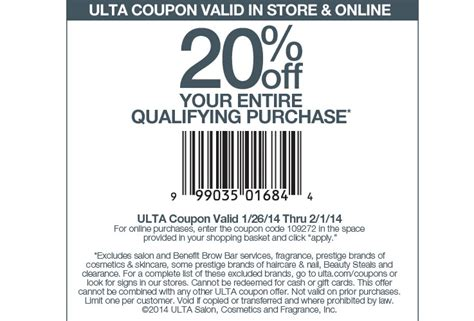 ulta beauty coupons printable 2014 more good news from ulta 20 off coupon till february 1