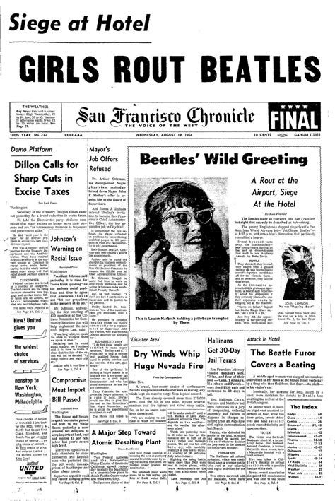 san francisco chronicle sports section chronicle covers beatlemania overtakes the front page
