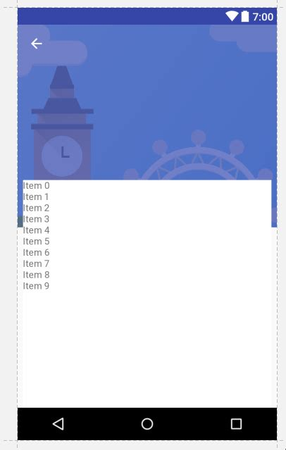null layout scrollbars android recyclerview with background image at top